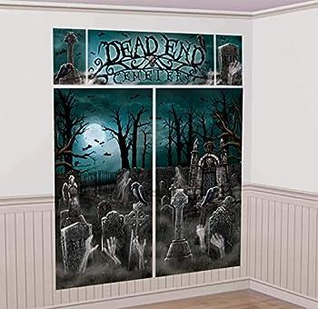 Amscan 670449 Cemetery Scene Setters | Halloween Decorating Kit 59  x 32 1/2  2 ct