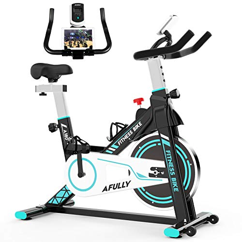 Afully Indoor Exercise Bikes Stationary, Fitness Bike Upright Cycling Belt Drive with Adjustable Resistance, LCD Monitor&Phone Holder Quiet for Home Cardio Workout