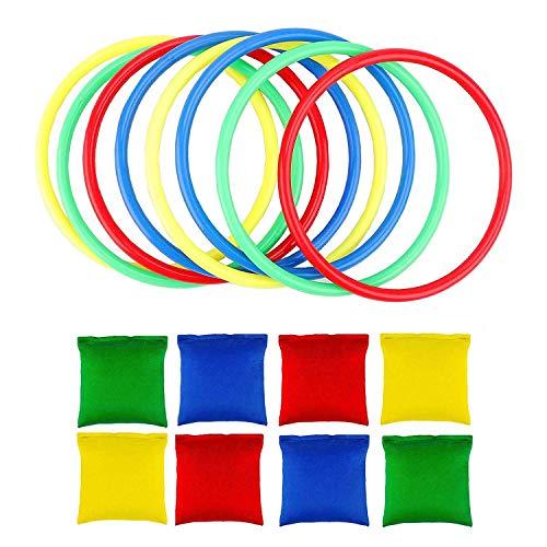 Interesante Niños Juguetes Educación, Juegos Toss juego, Incluir 8pcs Nylon Bean Bags y 8pcs que lanzan los anillos for niños Toss Juego de velocidad y agilidad de Formación juego de carnaval jardín t