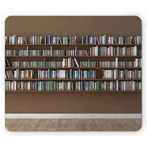 Bibliothek-Mausunterlage,Innenszene Mit Bücherregalen Auf Der Wand Voll Von Den Büchern,Die...