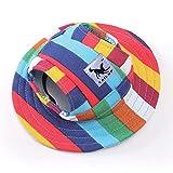 Decdeal Sombrero Redondo de ala para Perro Sombrero de Mascota Sombrero de Malla Gorra para Sol con Orejeras para Perros Pequeños