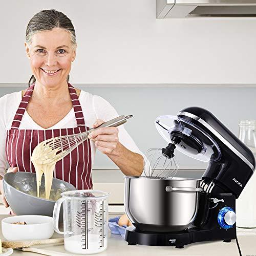 Aucma Küchenmaschine 1400W mit 6,2L Edelstahl-Rühlschüssel, Rührbesen, Knethaken, Schlagbesen und Spritzschutz, 6 Geschwindigkeit Geräuschlos Teigmaschine, Schwarz - 4