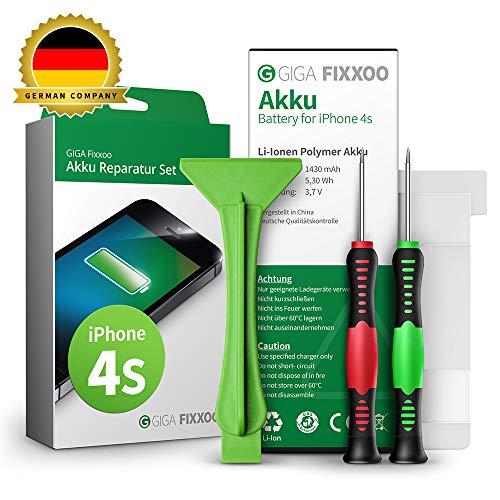 GIGA Fixxoo Akku Reparaturset kompatibel mit iPhone 4s | Einfacher Austausch mit Anleitung und Werkzeug im Set bei Defekter Batterie, schnelles Wechseln