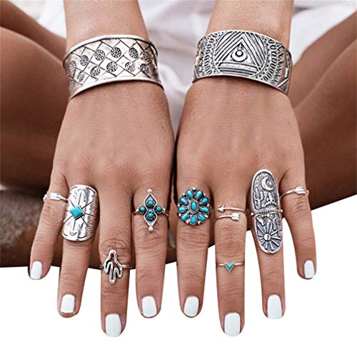 Myhouse 9 Pcs/Set Bohemian Index Finger Ring Geometric Totem Rings Women Accessories, Ancient Silver Color