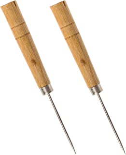 Wood Handle Scratch Marking Awl for Book - Pack of 2 - Awls for Leather Work - Bookbinding Working Straight Awl Tool