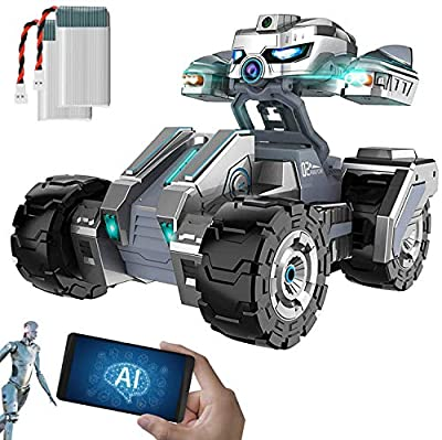 Ximpatico Scout AI - Smart Coding Robot - Fun and Educational Programming STEM Toy - Self-Driving AI Technology with Object Detection - Multiplayer Battle Robot - RC Car with Camera and Two Batteries