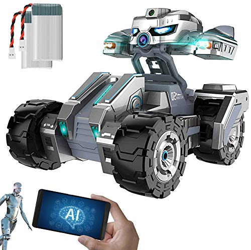 Scout AI - Smart Coding Robot - Fun and Educational Programming STEM Toy - Self-Driving AI Technology with Object Detection - Multiplayer Battle Robot - RC Car with Camera and Two Batteries