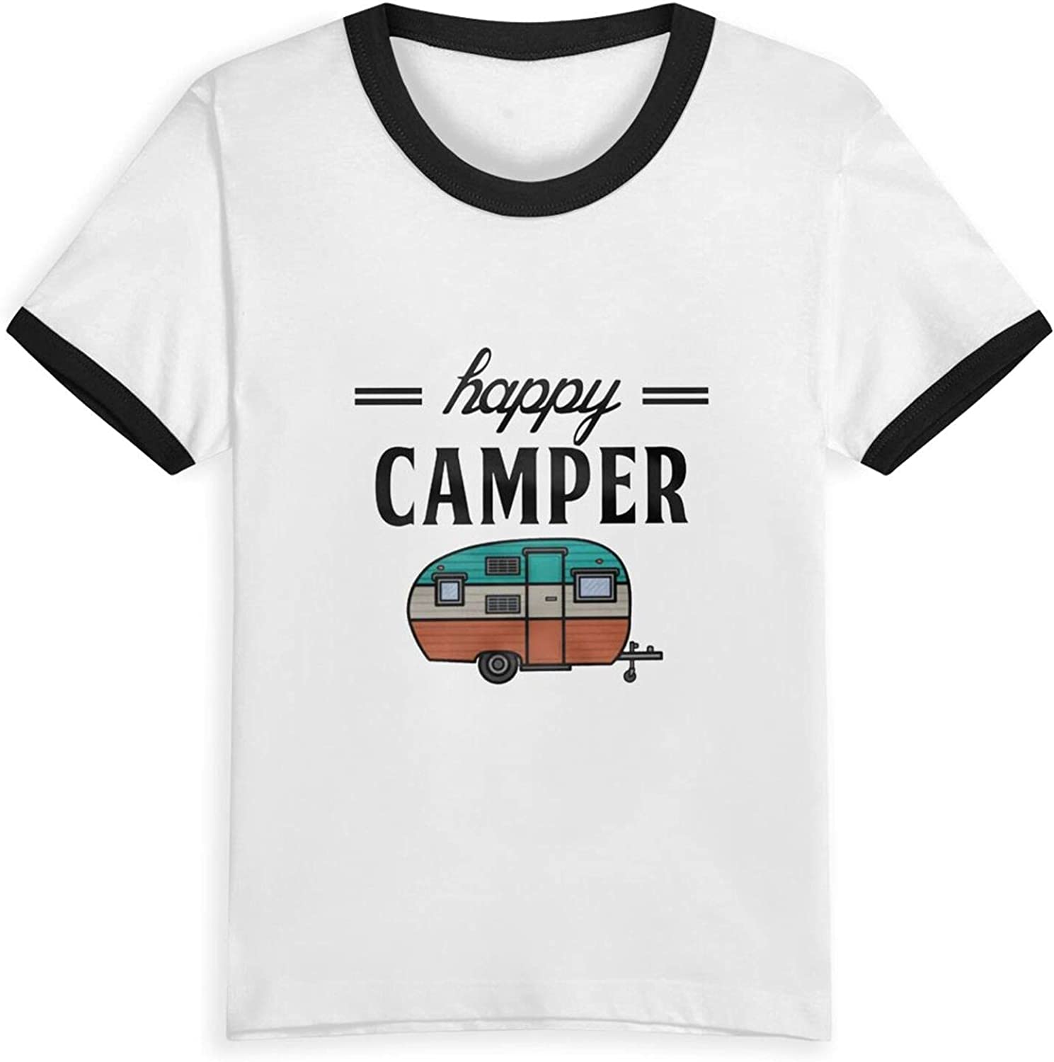 Happy Camper Camping Outdoor Boys Girls Shirts Funny Kids Short Sleeve T-Shirt Tops Tees 2-5 Years