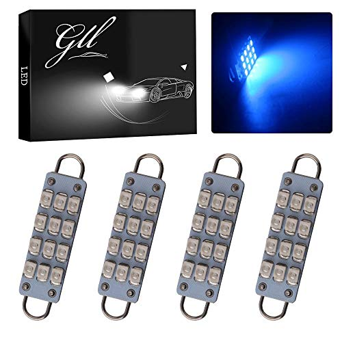 GrandviewTM 4 X 44mm(1.73') 12-SMD 1210 3528 Chip Rigid Loop Festoon LED Bulbs for Car Interior Light Dome Map Light Door Courtesy Lights 211-2 212-2 561 562 567 (Blue)