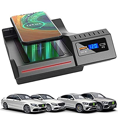 Braveking1 2021 Upgrade Car Wireless Charger for Mercedes-Benz C-Class GLC 2021-2016 Center Console Accessory Panel, 15W Fast Charging Phone Charger Pad with QC3.0 USB and 18W PD for iPhone Samsung