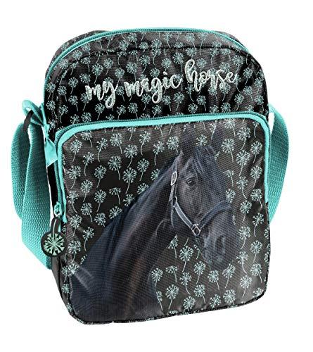 Ragusa-Trade Pferde Fan Mädchen Kinder - Handtasche Schultertasche Umhängetasche (19KN), schwarz/blau, 24 x 18 x 7 cm