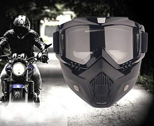 YIQI Motocicleta Gafas de máscara de Motocross con extraíble y Filtro de Boca para Vintage Cascos (Marco Negro, Lente Gris)