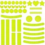 Sunshine smile Juego de 41 pegatinas reflectoras adhesivas para bicicleta, para carrito, bicicleta y cascos, color amarillo B