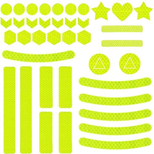 Sunshine smile 41 Stück Reflektoren Aufkleber Sticker,Reflektor Aufkleber Set,reflexfolie selbstklebend,reflexfolie Fahrrad,Reflektoren Aufkleber für Kinderwagen Fahrrad und helme (Gelb-B)