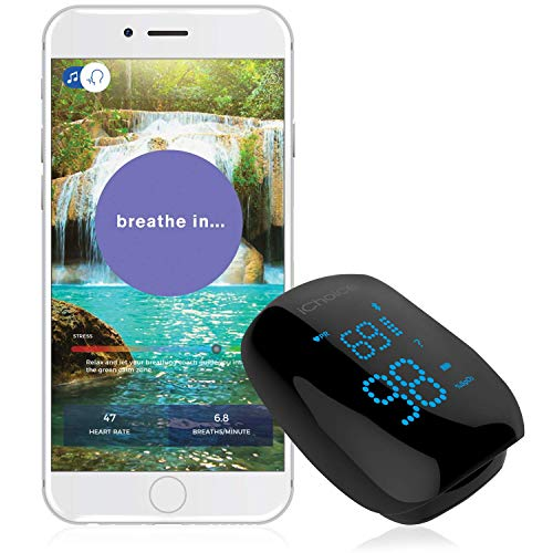 iChoice Relaxation Coach Smart Pulse Oximeter – Portable Bluetooth Sensor for Meditation amp Relaxation  Easily Monitor Stress Heart Rate and SPO2 Oxygen Saturation Trends
