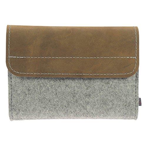 Premium Taschenapotheke von ebos | 64 Schlaufen für Globuli-Fläschchen (Leder braun/hellgrau)