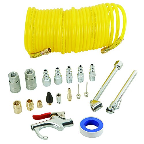 Tooltime 20 Piece Air Compressor Accessory Kit - Includes 25ft Recoil Air Hose, Blow Gun & Tyre Inflator
