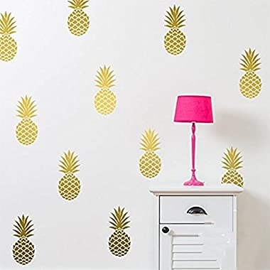 YOYOYU ART HOME DECOR Pineapple Wall Decal Large 12 Set Pineapples Sticker/Home decor Nursery Kids Bedroom Vinyl Wall Decal Mural (8  H X 3.5  W/each) (Gold)