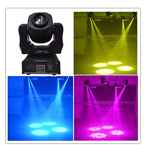 Wonsung 80W LED Gobo Moving Head Lights Rainbow 8 Colors DMX LED Stage Lights Spot Holiday Lighting Projector For Disco Club Party Wedding Bar Events