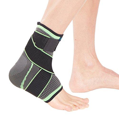 Órtesis tobillera deportiva con cinta envolvente Actesso – La órtesis tubular perfecta para esguinces, distensiones y lesiones deportivas (Mediana, Verde)