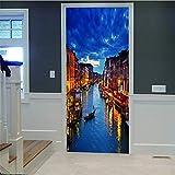 Pegatinas De Pared Con Puerta 3D Venecia Diy Mural Dormitorio Vinilo Pegatina De Puerta Removible Póster Para La Decoración Del Dormitorio En Casa Arte De La Sala (77 X 200 Cm) Autocollantes