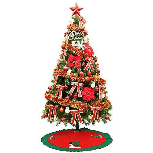 MIMI KING 8,8 Pieds Arbre De Noël 1700 Embouts De Branche avec La Jupe Rouge d'arbre, Ornements Respectueux De l'environnement, Lumières Colorées De Corde Et Stand en Métal,Red