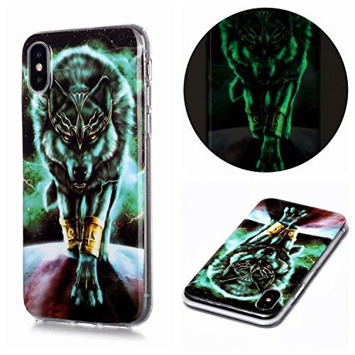 Miagon Leuchtend Luminous Hülle für Huawei Y5 2019,Fluoreszierend Licht im Dunkeln Handyhülle Silikon Case Handytasche Stoßfest Schutzhülle,Wütend Wolf
