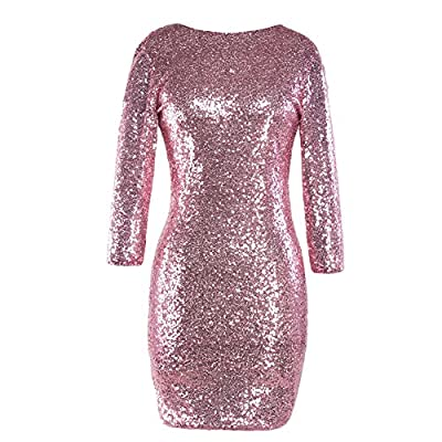 Women's 3/4 Sleeve Sparkle Glitter Sequin Bodycon Dress Evening Night Club Flapper Cocktail Mini Dress