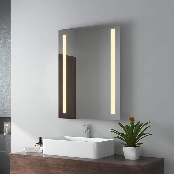 Specchio da bagno a led, 60 x 80 cm, con illuminazione bianca calda, ip44, a risparmio energetico emke B08MTMLSK5