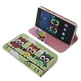 foto-kontor Tasche für Wiko Fever 4G Book Style Eulen