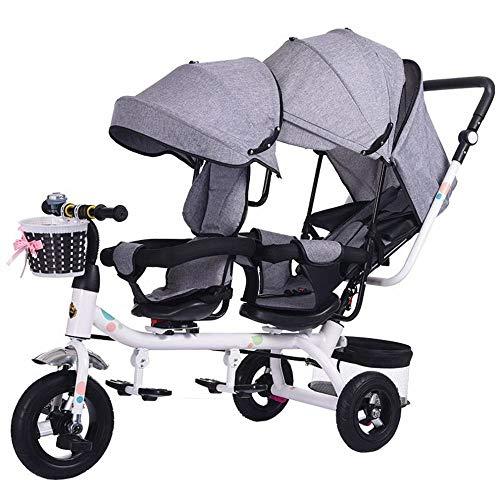 YR Double Tricycle Jumeau Vélo Bébé Poussette Jumeau 1-7 Ans Voiture De Bébé,Gris,1