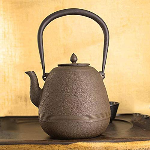 Tea Pot, Cast Iron Tea Kettle with Handle, Vintage Small Japanese Heat Resistant Tea Maker for Office Home Party, 1.2L