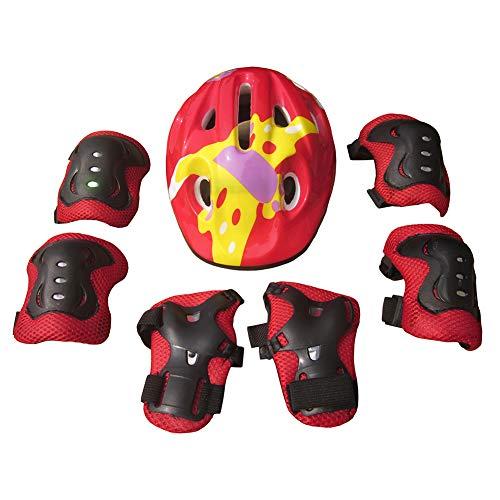 PINBinyee Juego de 7 rodilleras, coderas, palas, rodilleras, coderas, muñequeras para bicicleta BMX y monopatín, color rojo