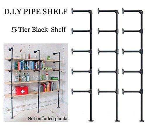FOF Industrial Retro Wall Mount Iron Pipe Shelf,DIY Open Bookshelf,Hung Bracket,Home Improvement Kitchen Shelves,Tool Utility Shelves, Office Shelves,Ceiling Mount Shelf Shelves