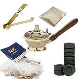 NKlaus Set de Incienso Dorado 14tlg con resinas Naturales y carbón de Incienso 40619