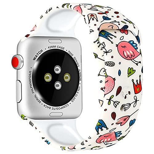 Ternzun Correa de silicona para Apple Watch Band 44mm 40mm 42mm 38mm pulseira correa impresión pulsera Apple Watch iwatch 4 3 5 SE 6 (38mm y 40mm, 7)