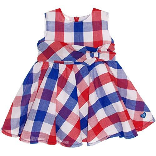Tutto Piccolo - Vestido para niña de Cuadros Rojos, Azules y Blancos. Vistoso Modelo para Verano. Sin Mangas. Adornado con Lazo en la Cintura. Forro Interior