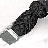 Zmoon Ice Scraper Mitt for Car Windshield, 2-Layer Lined of Thick Fleece Waterproof Snow Remover Glove (Black)