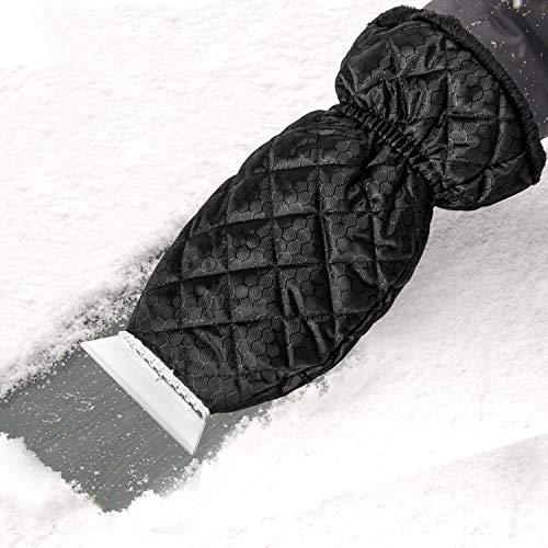 Zmoon Eiskratzer für Auto, Eiskratzer Handschuh Windschutzscheibe Schneeschaber mit wasserdichtem Schnee-Entferner Handschuh gefüttert aus dickem Fleece schwarz