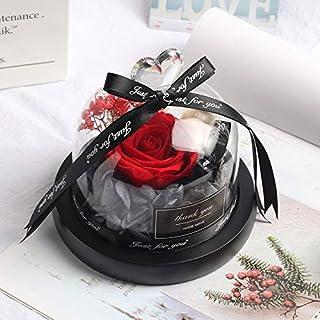 ガラスドームバレンタインデークリスマスギフトの中のフラワーデコレーションレッド永遠のバラ HYFJP (Color : ベージュ, Size : フリー)