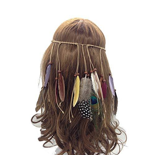 Jurxy Bandeau réglable en Plumes de Paon Plume de Fuite Indienne Coiffe d'armure bohémienne Headpieces avec des Perles de Gland - Marron- Style 2