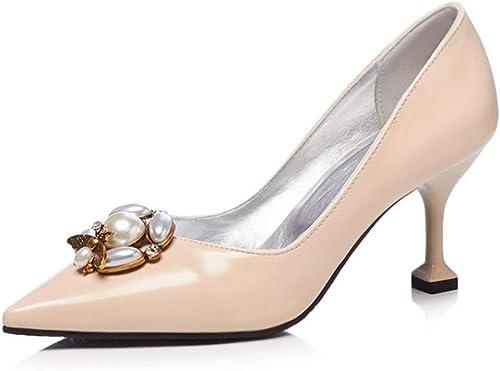 ZPFME Talons de travail sexy pour femmes talons hauts hauts pointu pompe talon glisseHommest sur Dancing Court chaussures Pearl  meilleure réputation