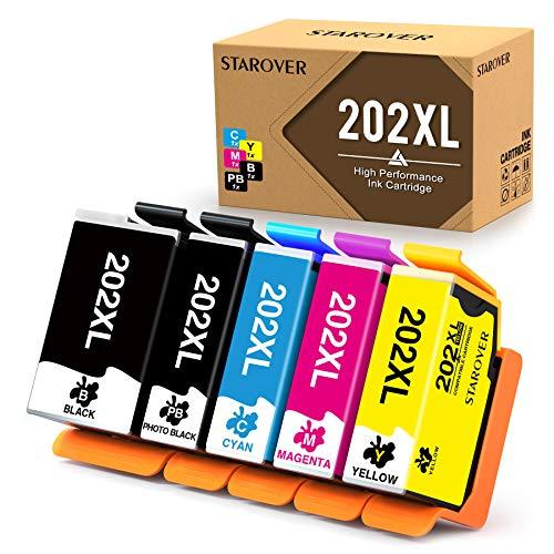 STAROVER Cartucho de Tinta Compatible Reemplazo para Epson 202XL 202 XL para Epson Expression Premium Xp-6000 Xp-6005 Xp-6001 Xp-6100 Impresora (5 Paquete)