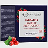 O Naturals Anti-Aging Organic Rosehip Oil Hydrating Night Cream. Face & Neck Moisturizer for Soft Skin. Plant Based Essential Fatty Acids Brighten, Hydrate Dry Itchy Skin Non-Greasy. Men-Women 1.7oz
