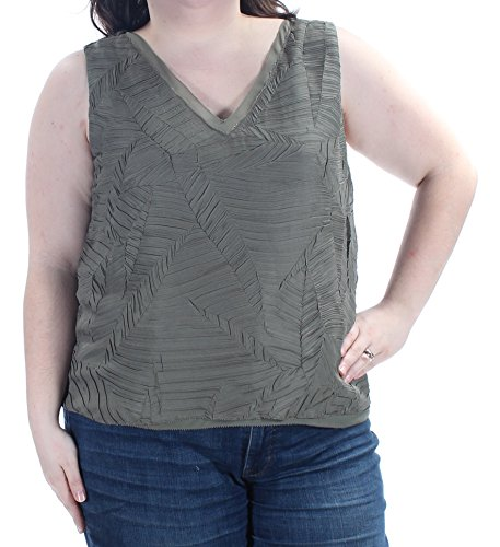Price comparison product image Bar III 70 Womens New 1044 Green Textured Sleeveless V Neck Casual Top M B+B