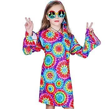 Girl s 60s 70s Flower Hippie Costume Fancy Dress  S 4-6