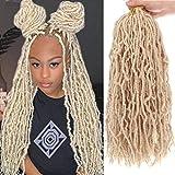 Xtrend 6 Packs Pre-Looped New Faux Locks Braids Hair 18 Inch Fashion Soft Locks Hair Blond Synthetic Hair Extend 21Strands New Loc Braiding Hair Most Natural Faux Locks Curly Crochet Hair 613#