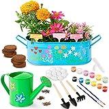 Kit Jardineria y Pintura para niños - Flores y Plantas naturales para cultivar - Set de Jardineria Educativa para pintar - Herramientas juguete Jardin interior y Exterior - Regalo para Niño y Niña