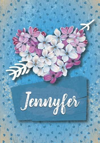 Jennyfer: Cuaderno de notas A5   Nombre personalizado Jennyfer   Regalo de cumpleaños para la esposa, mamá, hermana, hija ..   Diseño: Lilas corazon   120 páginas rayadas, formato A5 (14.8 x 21 cm)