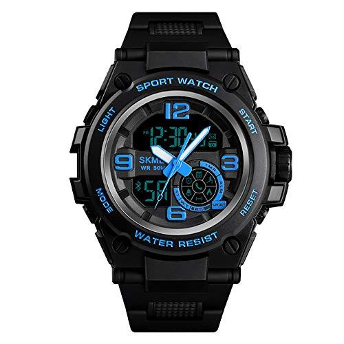 LHWQAN Reloj de múltiples Funciones al Aire Libre, Bluetooth, Información de la Persona Que Llama, Recordatorio de Aplicaciones Push, Pedómetro Sports Watch, Regalo para la Blue